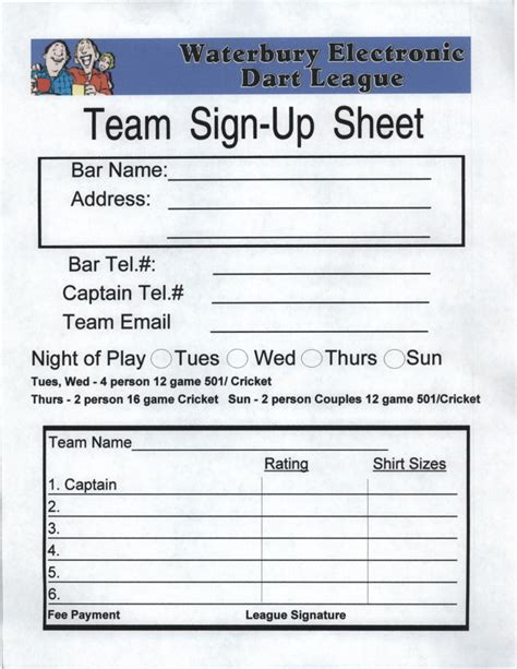 Team Sign Up Sheet Template by Best Photos Of Team Sign Up Sheet Printable Blood