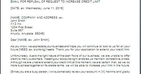 Letter Refusing Credit To Customer credit limit refusal letter