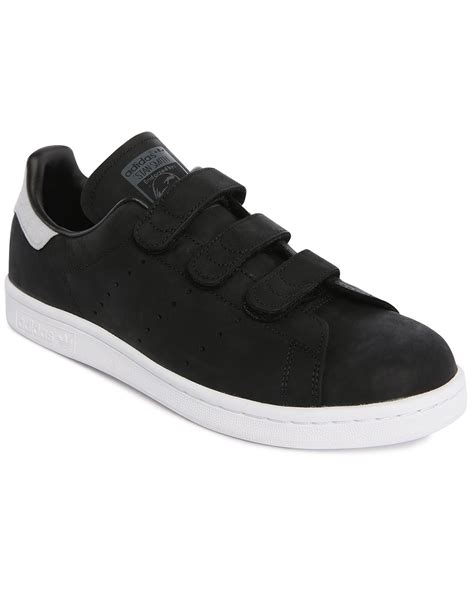 velcro sneakers mens adidas originals stan smith black leather velcro sneakers