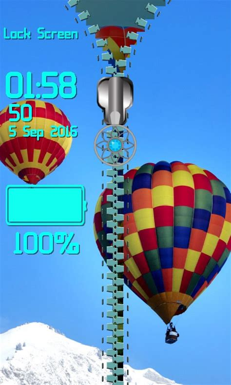 balloon pattern lock screen air balloon zipper lock screen