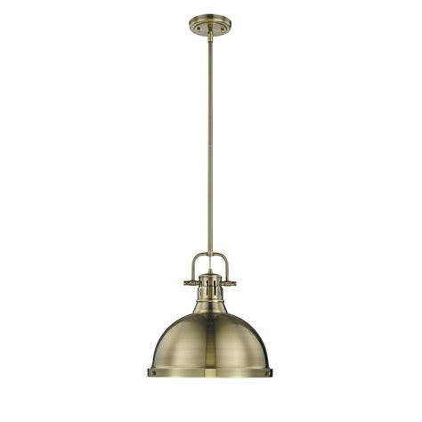 aged brass pendant light golden lighting duncan ab 1 light aged brass pendant with