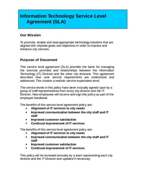 service level agreements templates service level agreement 18 free pdf word psd