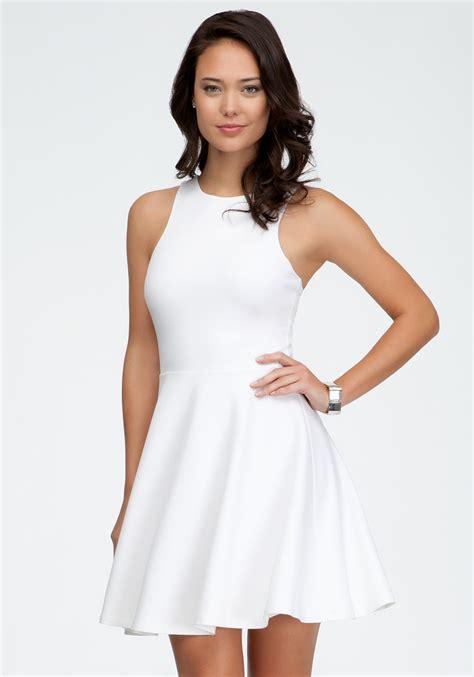 White Dress lyst bebe cut out mini dress in white