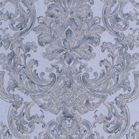 blue patterned wallpaper uk graham brown montague damask pattern blue silver vinyl