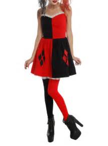 Harley quinn costume dress with lined skirt elastic waist back zip