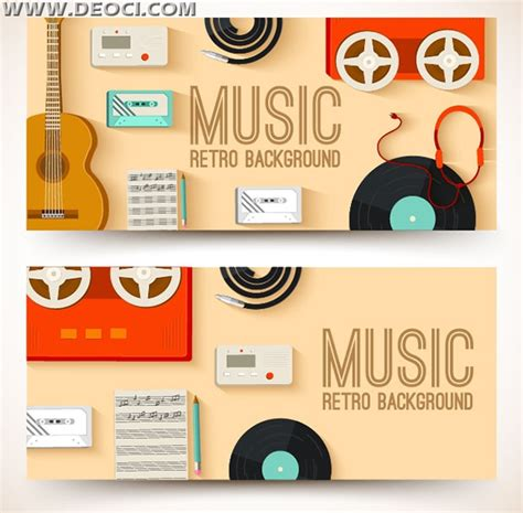 2 retro music banner design templates ai download deoci