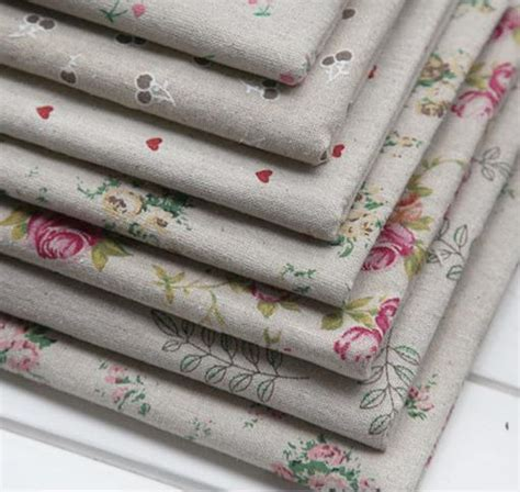aliexpress com buy 2 pcs love linen blend home decor 7pcs rustic print rose love cherry linen fabric square