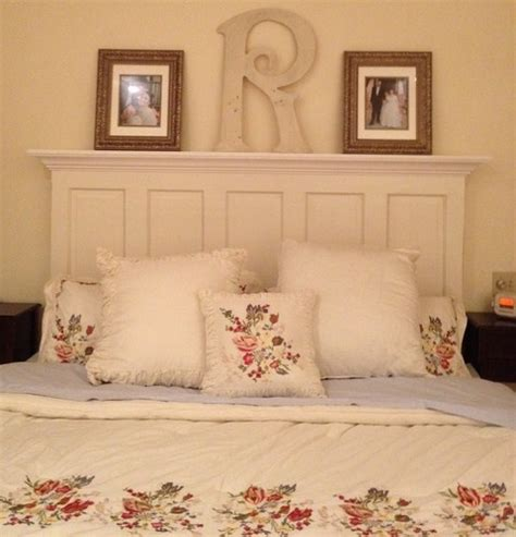headboard made out of door and trim home
