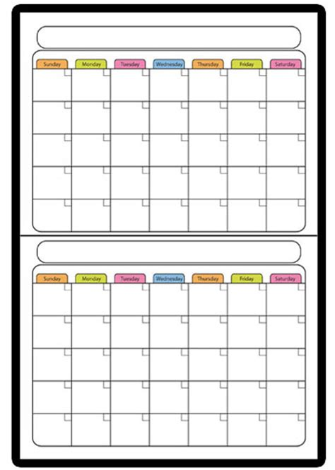 2 Month Calendar Custom Colored 2 Month Erase Calendar
