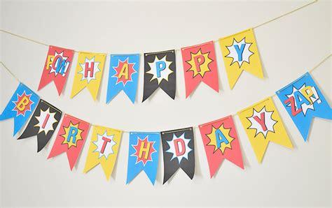 download printable birthday banner superhero banner instant download printable diy