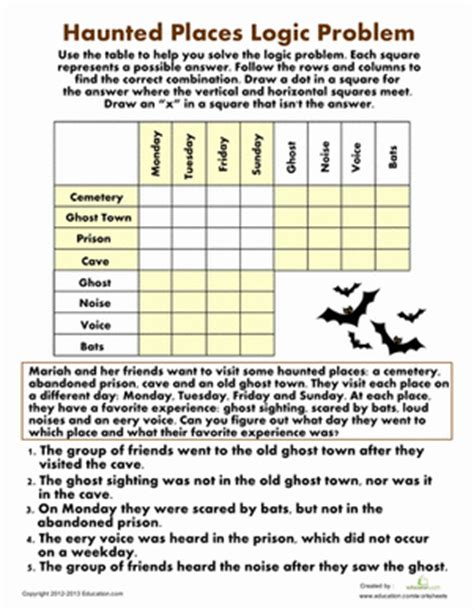 printable halloween logic puzzles haunted places logic problem worksheet education com