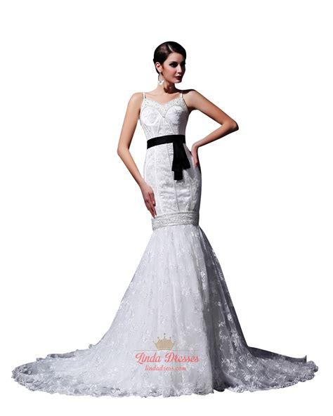 white beaded wedding dress white mermaid beaded spaghetti wedding dresses with