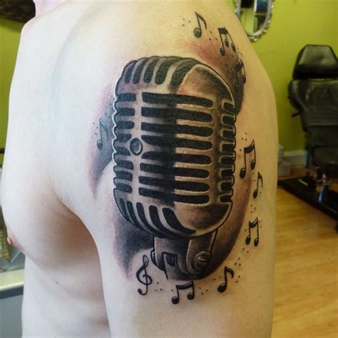 microphone tattoo with music notes 22 microphone and music notes tattoo