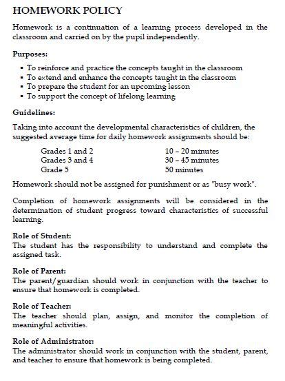 Elementary Homework School by Homework Policy Overview