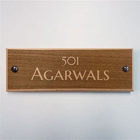 Apartment Name Plate Designs Engraved Wooden Apartment Name Plate