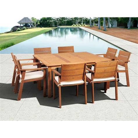 furniture piece eucalyptus wood patio set outdoor artika folding wooden patio table and chairs atlantic contemporary lifestyle nelson 9 piece square