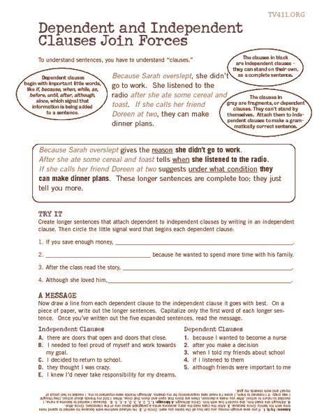 independent and dependent clauses worksheets worksheets