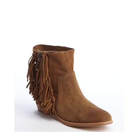 zadig voltaire brown fringed suede pearce ankle boots in