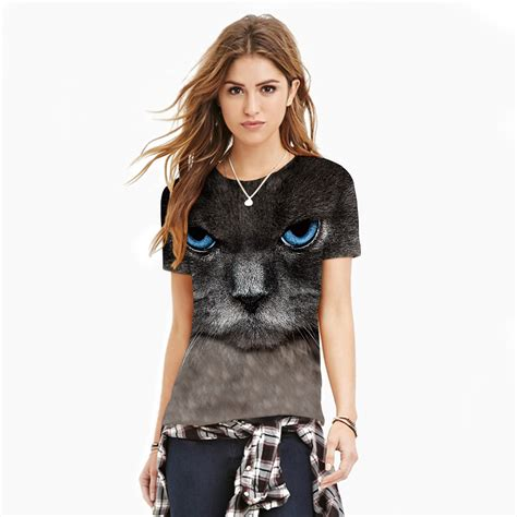 Cy50829 T Shirt Top Blouse Printed Import t shirts cheshire cat printed sleeve t shirt o neck top s ebay