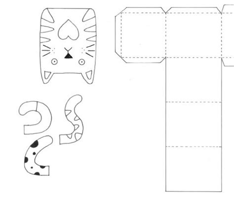 printable cat card template cat motifs gift box templates free card