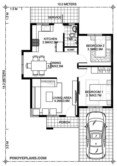 wanda simple  bedroom house  fire wall pinoy eplans