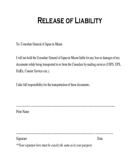 release of liability template sle release of liability form 11 free documents in