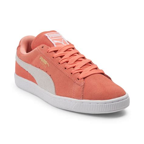 color pumas shoes womens suede athletic shoe orange 361626