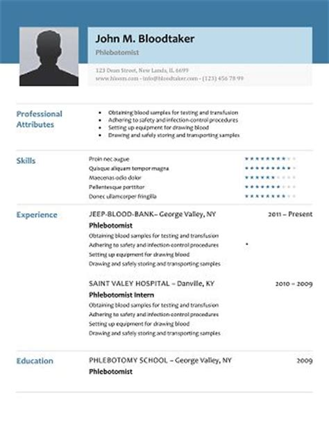 10 Images About Resume Templates On Pinterest Simple Colors And Image Search Phlebotomy Resume Template Free