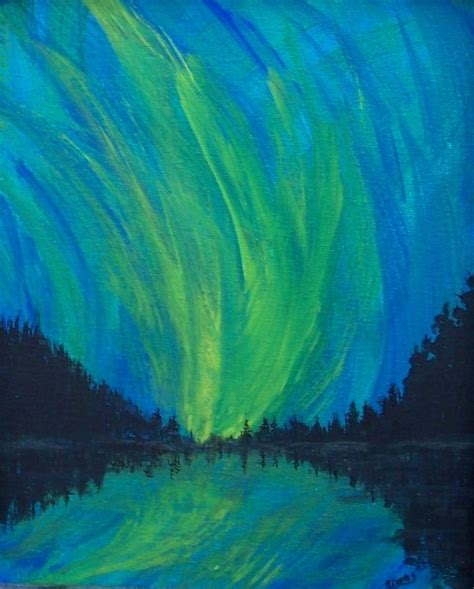 Northern Lights Painting Acrylic Painting Aurora Borealis Northern Lights Paintings