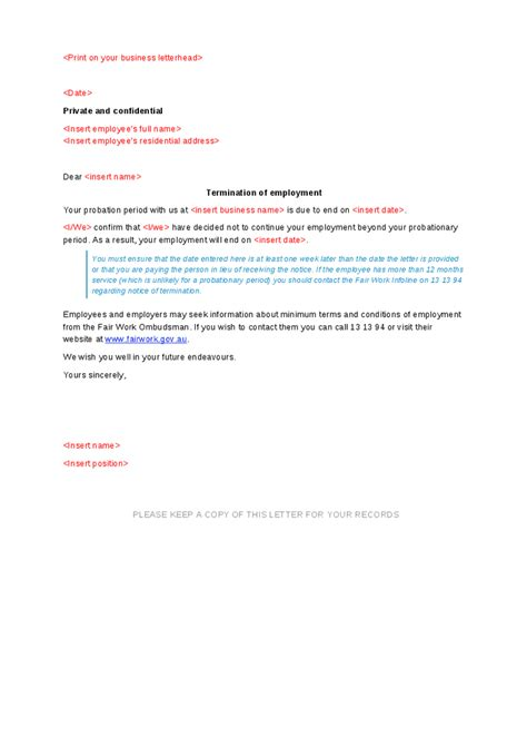 appointment letter format probation period sle employment offer letter with probationary period