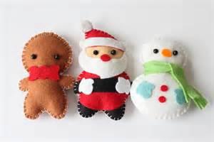 felt plush ornaments santa claus snowman gingerbread man