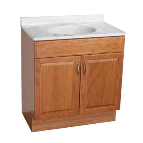 glacier bay bathroom vanities 30 in vanity in oak with ab engineered composite vanity top in white