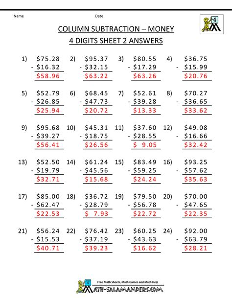 Answers To Worksheets by 4th Grade Subtraction Worksheets