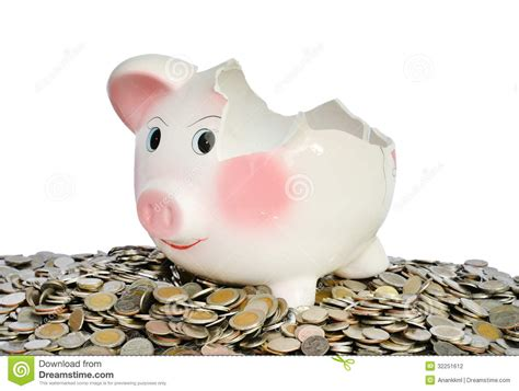 money bank pink piggy bank broken with money stock photography