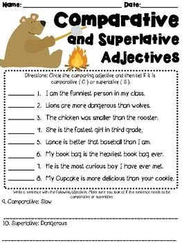 comparative and superlative adjectives worksheet l3.1g by
