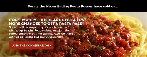 olive garden unlimited pasta pass olive garden pasta passes sell out in a second were you able to score one consumerist