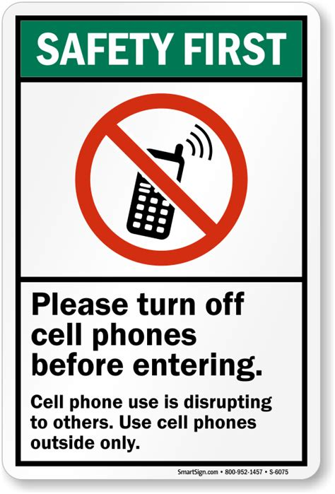 a no mobile phone or please turn off phones sign with a mobile phone
