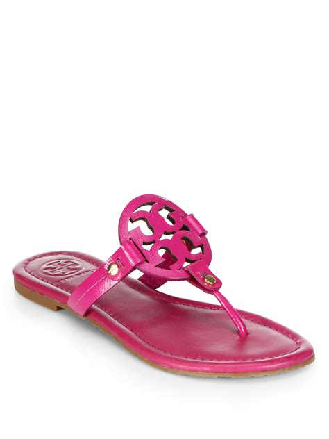 burch pink sandals burch miller patent leather sandals in pink