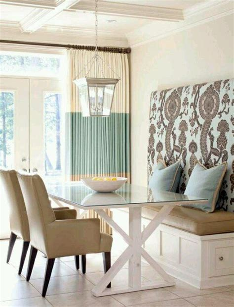 Aqua Dining Room Curtains Banquette Dining Room Pretty Palette Of White
