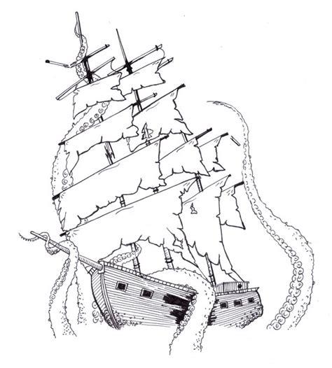 ship and kraken by kirstysuzanne on deviantart