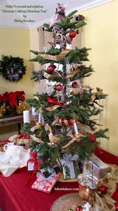 how to decorate atable tp christmas tree noble fir tree pruned in the vintage tabletop tree style designed by