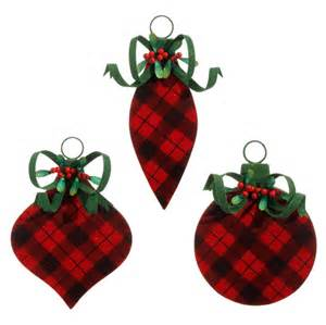 raz flocked buffalo plaid ornament set of 3