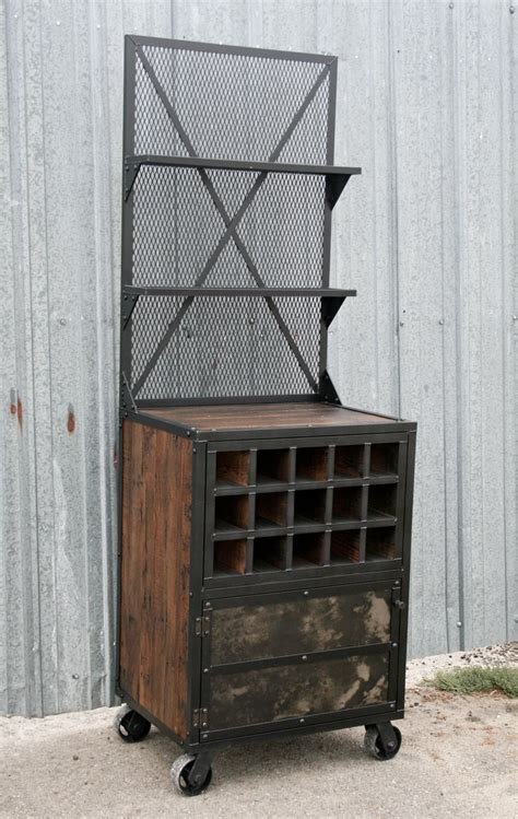 Industrial Style Bar Cabinet Buy A Made Vintage Industrial Mid Century Style Liquor Cabinet Bar Cart Made To Order From
