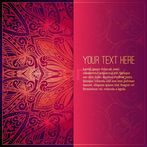 wedding invitation design red motif abstract vector circle floral ornament lace pattern