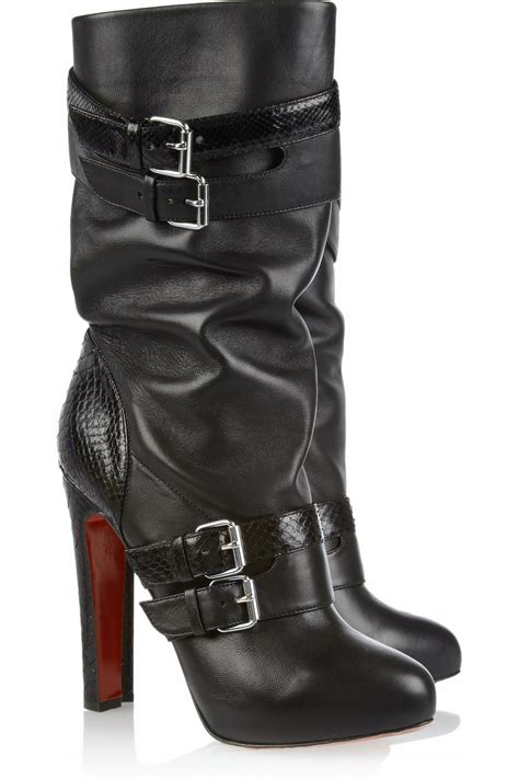 Shoeniverse Loubi Bike Pull On Heeled Biker Boots By