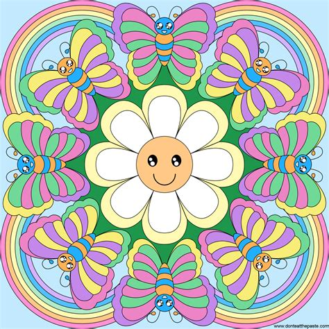 butterfly rainbow coloring page don t eat the paste butterfly rainbow mandala to color