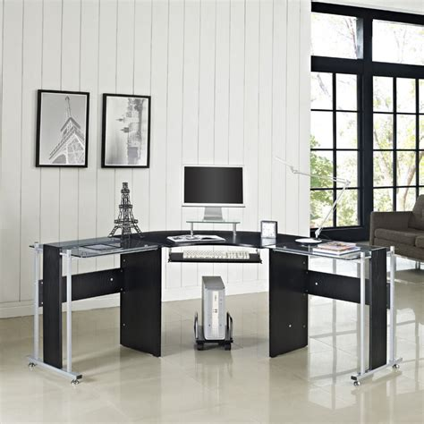 office glass office desk ideas using black glass for