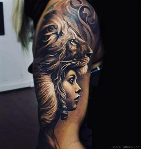 tattoo girl lion girl face and lion tattoo