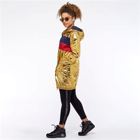 womens clothing fila womens lorna gold jacket gold