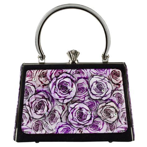 The Debbie Bags by Large Black Satin Lavendar Flowers Luxury